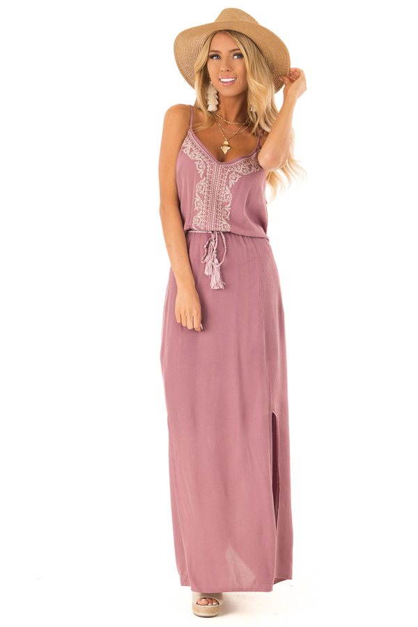 Mauve Maxi Dress with Embroidered Detail and Waist Tie front full body
