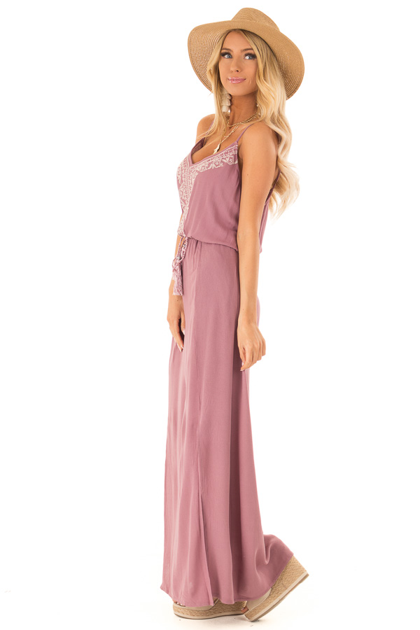 Mauve Maxi Dress with Embroidered Detail and Waist Tie side full body