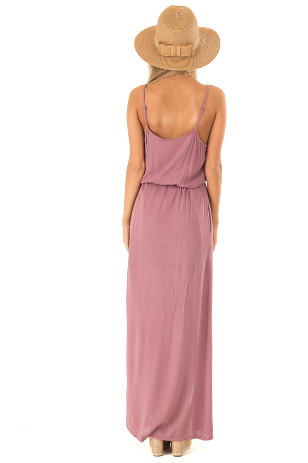 Mauve Maxi Dress with Embroidered Detail and Waist Tie back full body