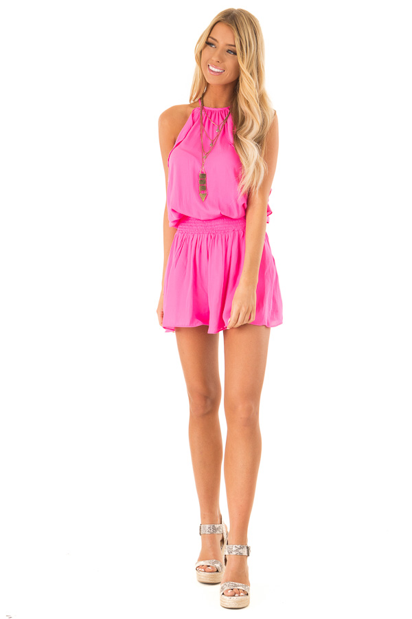 Hot Pink Sleeveless Halter Neck Romper with Ruffle Details front full body
