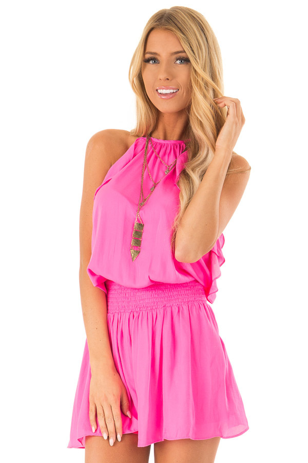 Hot Pink Sleeveless Halter Neck Romper with Ruffle Details front close up