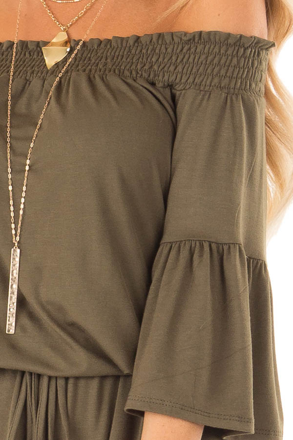 Olive Off the Shoulder Romper with Front Tie detail
