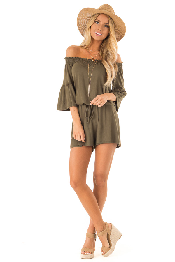 Olive Off the Shoulder Romper with Front Tie front full body