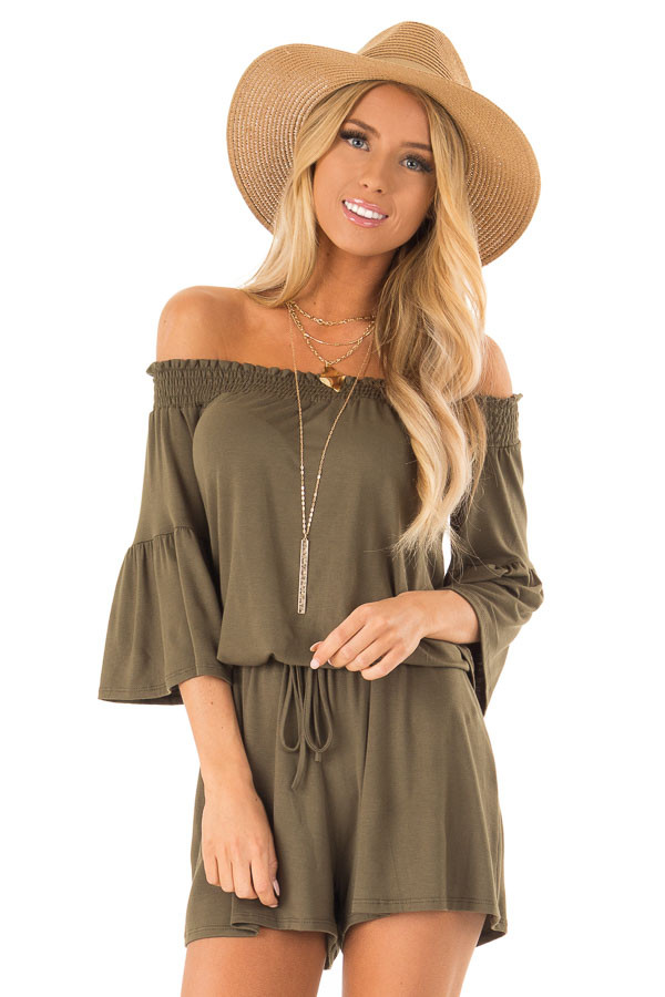 Olive Off the Shoulder Romper with Front Tie front close up