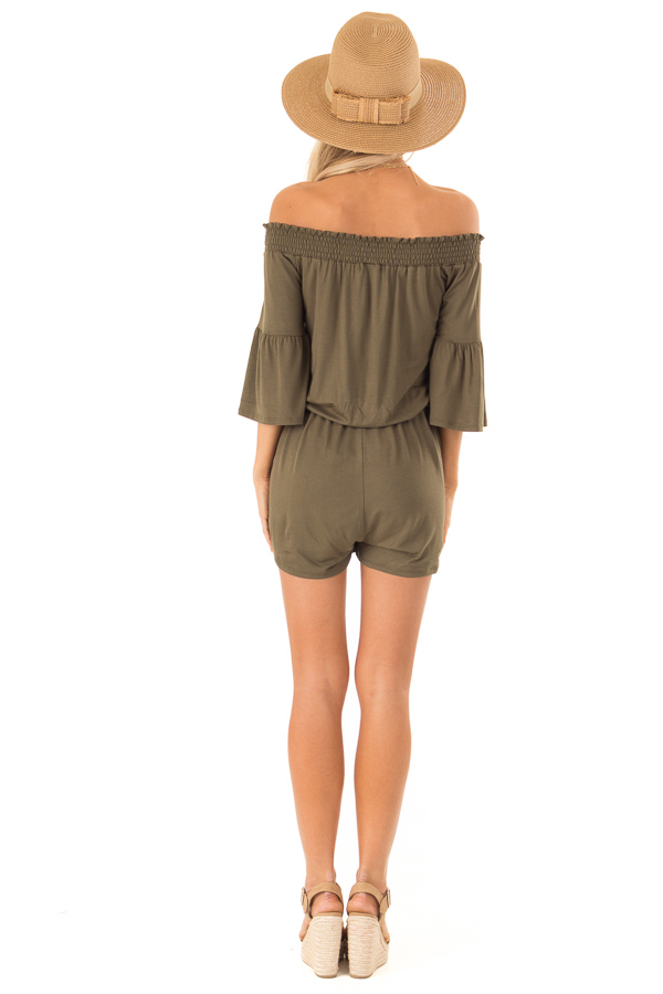 Olive Off the Shoulder Romper with Front Tie back full body