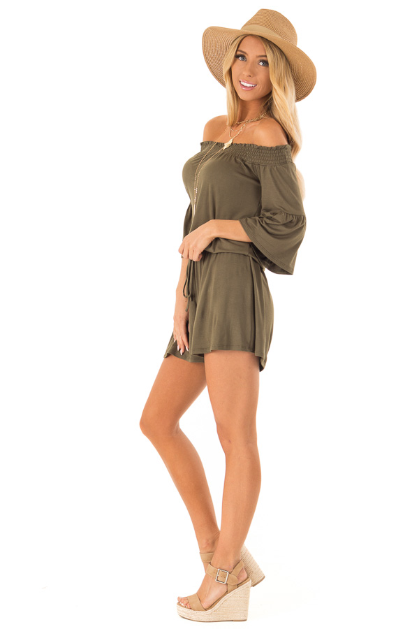 Olive Off the Shoulder Romper with Front Tie side full body