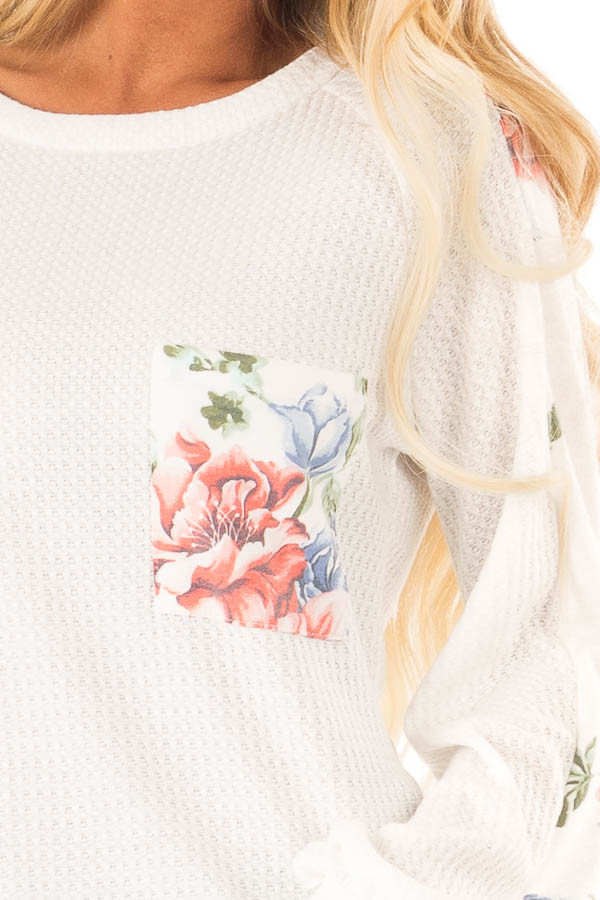 Coconut White Waffle Knit Top with Floral Print Details detail