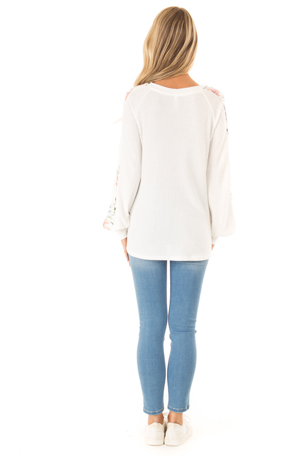 Coconut White Waffle Knit Top with Floral Print Details back full body