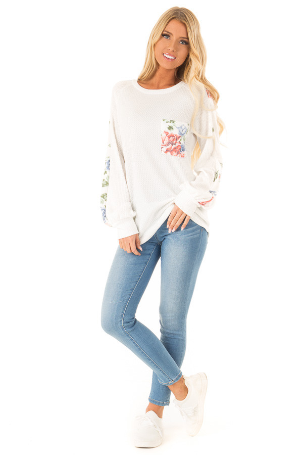 Coconut White Waffle Knit Top with Floral Print Details front full body
