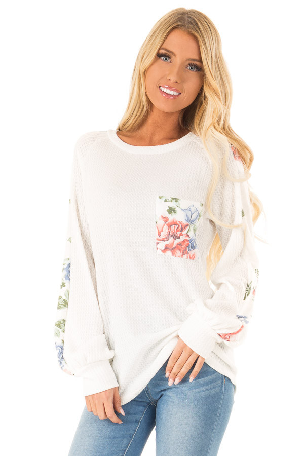 Coconut White Waffle Knit Top with Floral Print Details front close up