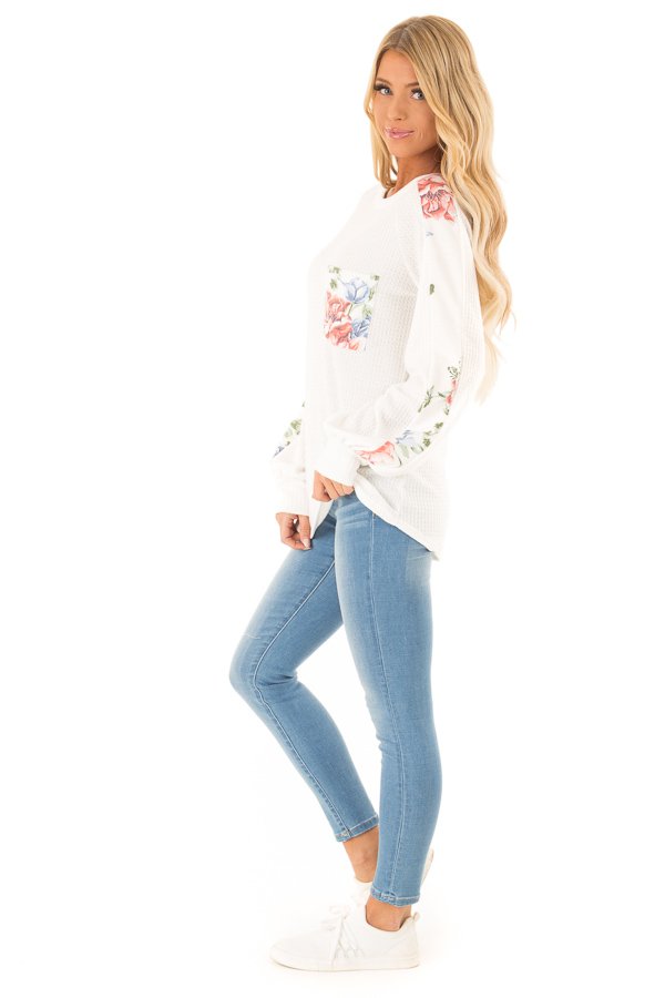 Coconut White Waffle Knit Top with Floral Print Details side full body