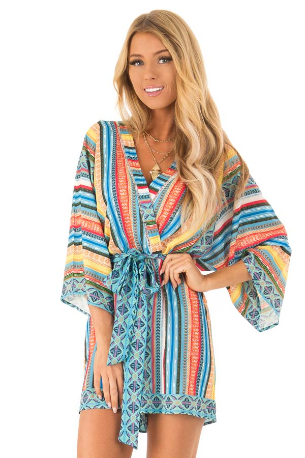 Ocean Blue and Sunshine Yellow Multi Print V Neck Romper front close up