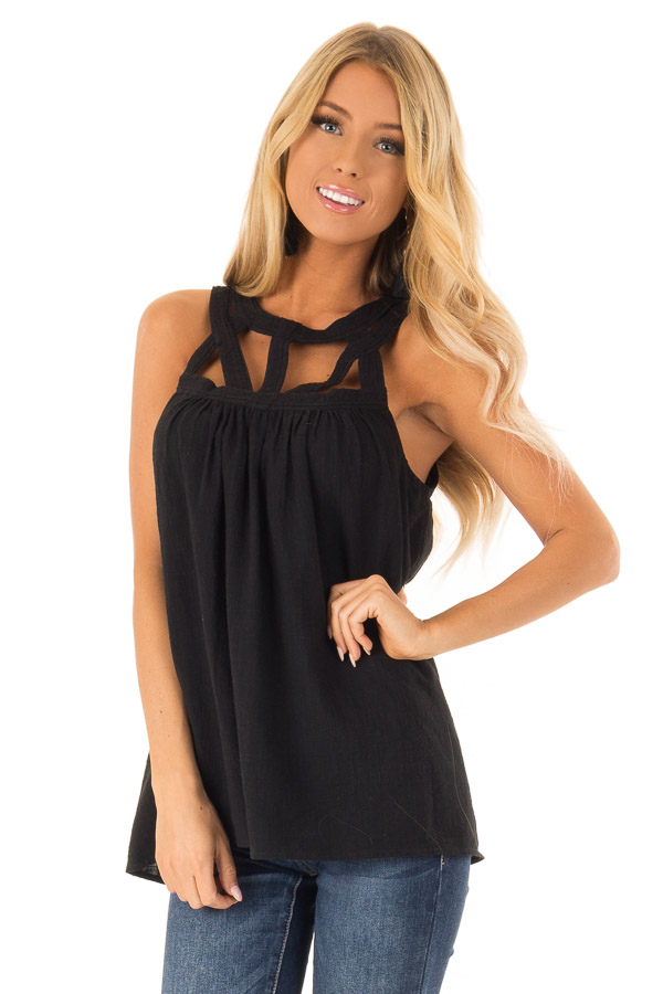 Coal Black Trapeze Tank with Asymmetric Chest Cutouts front close up