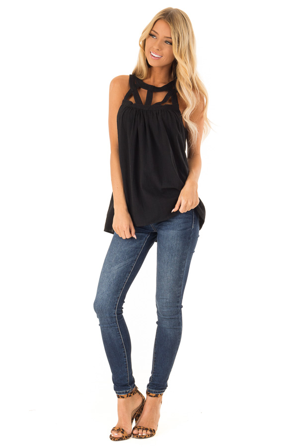 Coal Black Trapeze Tank with Asymmetric Chest Cutouts front full body