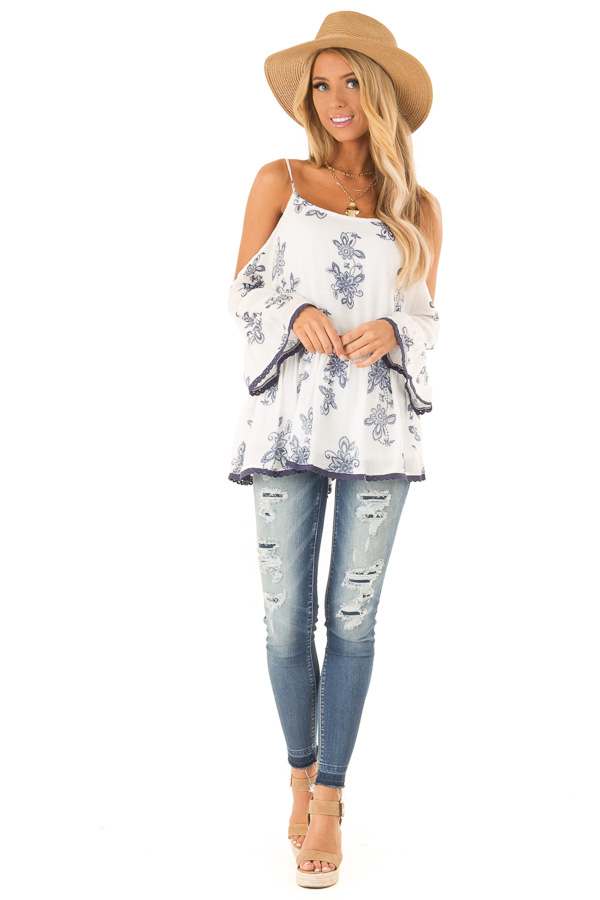 Porcelain and Smoky Blue Floral Cold Shoulder Peasant Top front full body