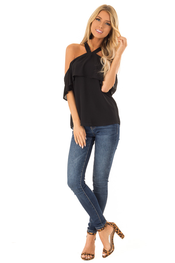 0c1b31a32e6 Raven Black Layered Cold Shoulder Halter Top with Back Tie front full body  ...