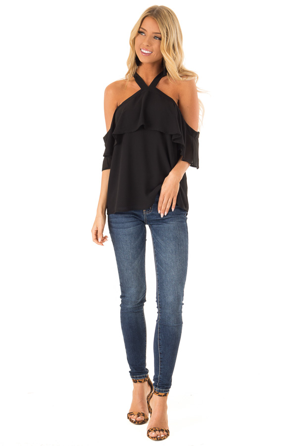 Raven Black Layered Cold Shoulder Halter Top with Back Tie front full body