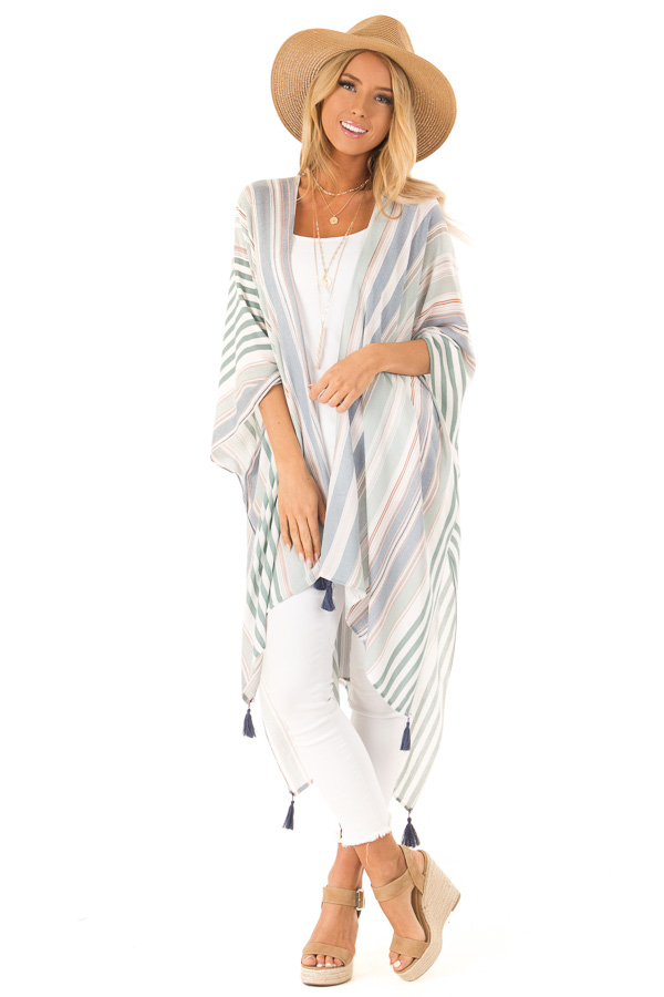 26c637ed2 Multicolor Striped Open Front Kimono with Tassel Details front full body