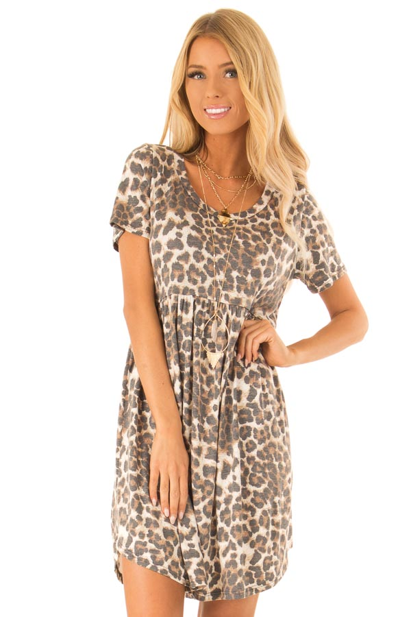 d4bb6fabc6b26b Cream and Mocha Leopard Print Babydoll Short Shift Dress - Lime Lush ...