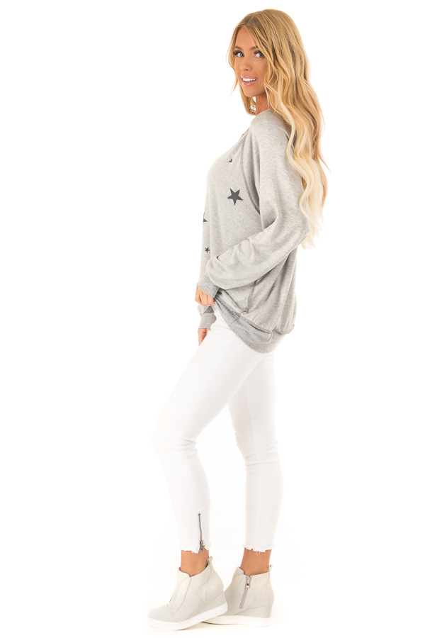 Heather Grey Long Sleeve Top with Stars side full body