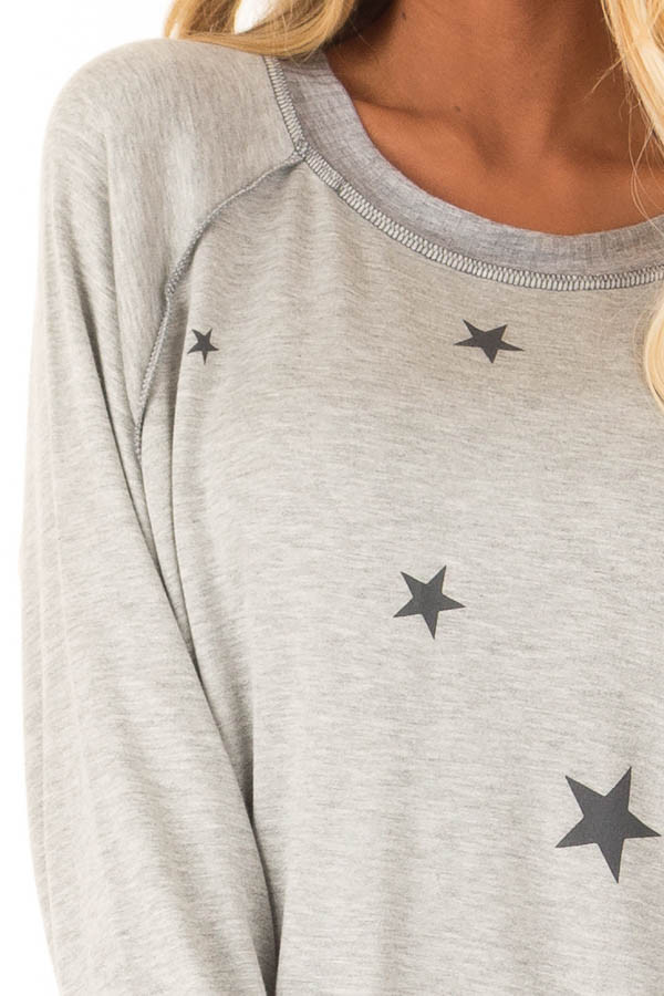 Heather Grey Long Sleeve Top with Stars detail