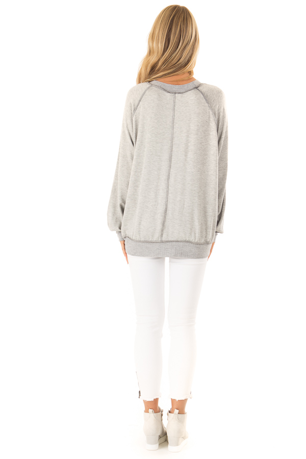 Heather Grey Long Sleeve Top with Stars back full body