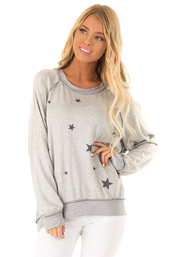 Heather Grey Long Sleeve Top with Stars front close up