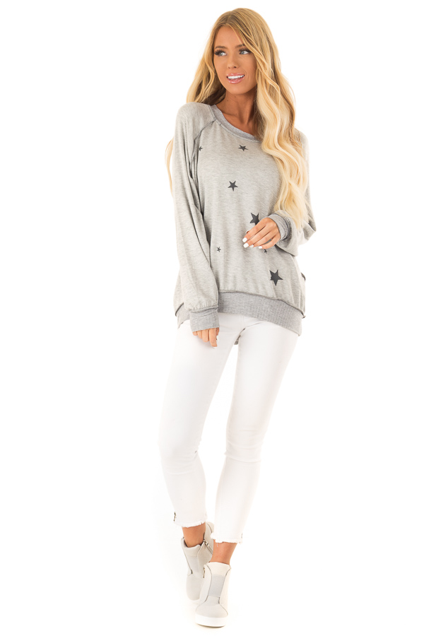 Heather Grey Long Sleeve Top with Stars front full body