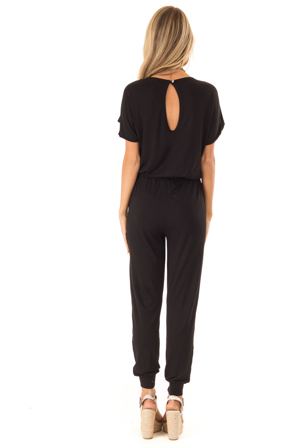 Onyx Black V Neck Short Sleeve Jumpsuit with Pockets back full body