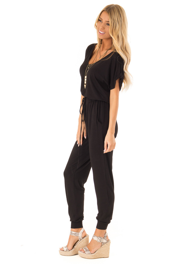 Onyx Black V Neck Short Sleeve Jumpsuit with Pockets side full body