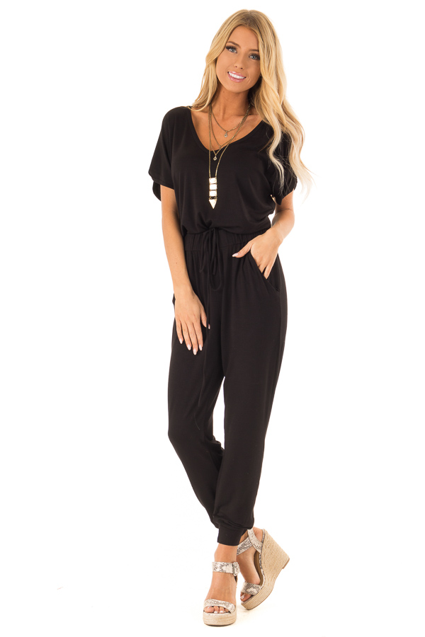 Onyx Black V Neck Short Sleeve Jumpsuit with Pockets front full body