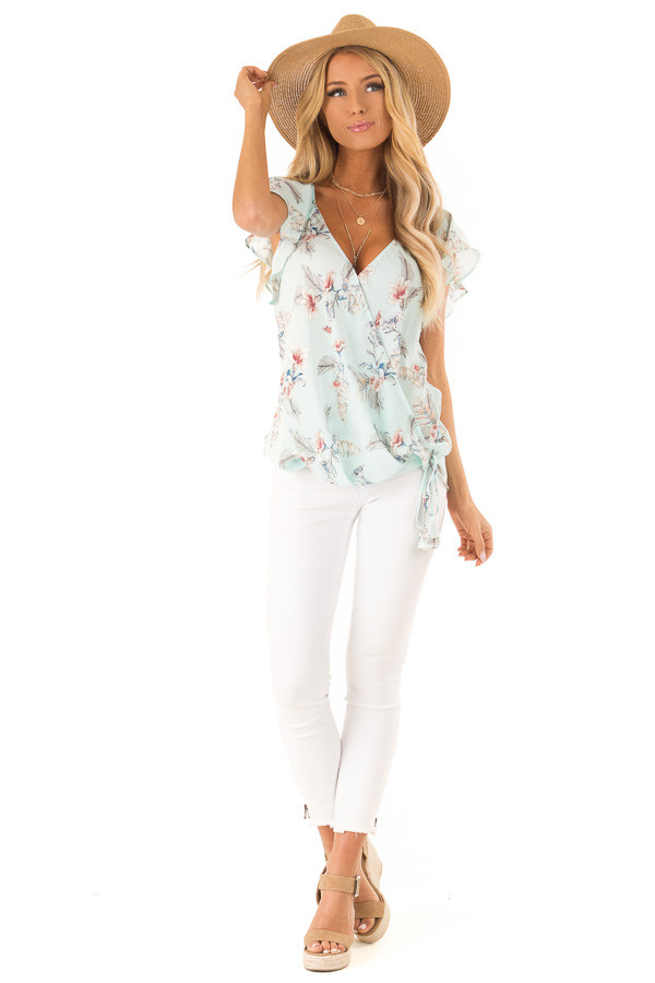 Baby Blue Floral Print Surplice Top with Ruffle Sleeves front full body