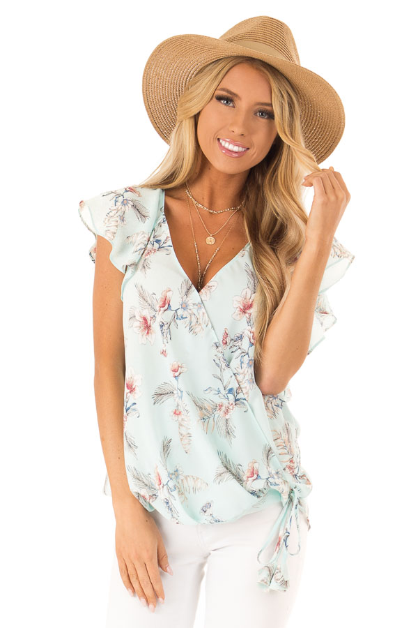 Baby Blue Floral Print Surplice Top with Ruffle Sleeves front close up