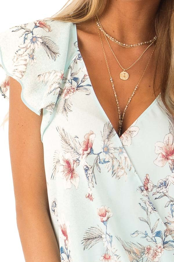 Baby Blue Floral Print Surplice Top with Ruffle Sleeves detail