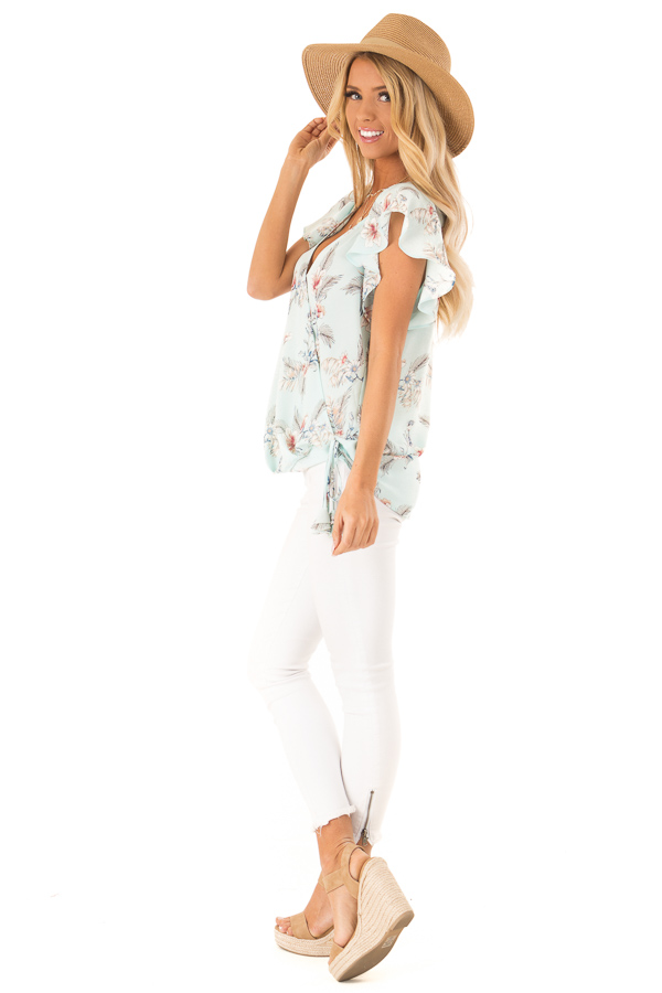 Baby Blue Floral Print Surplice Top with Ruffle Sleeves side full body