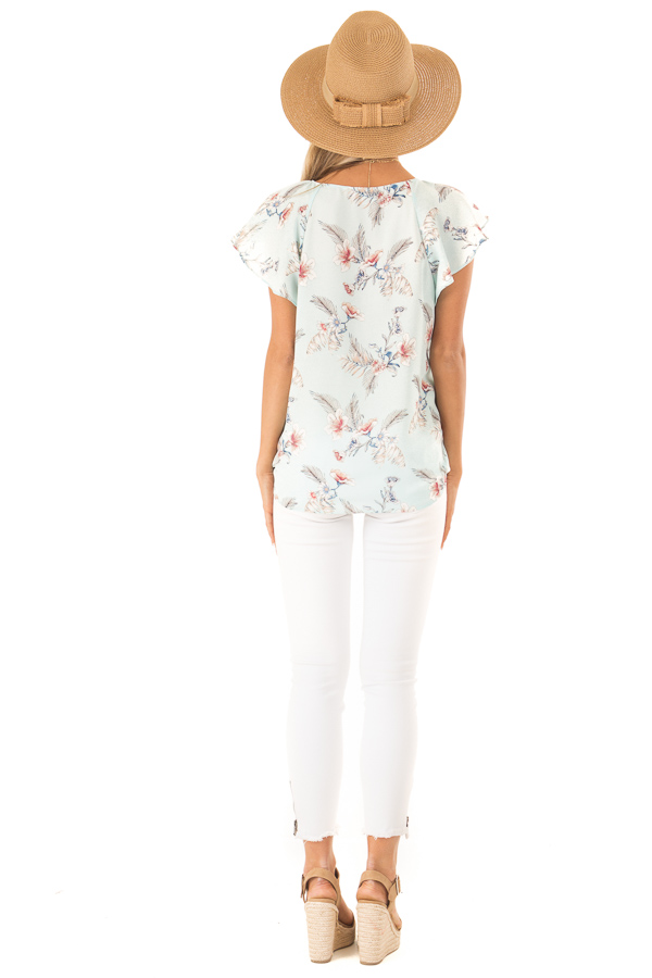 Baby Blue Floral Print Surplice Top with Ruffle Sleeves back full body