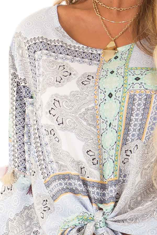 Baby Blue Paisley Patterned Top with Tassels and Front Tie detail