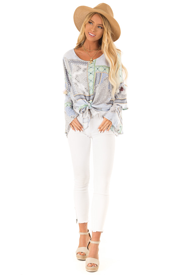 Baby Blue Paisley Patterned Top with Tassels and Front Tie front full body