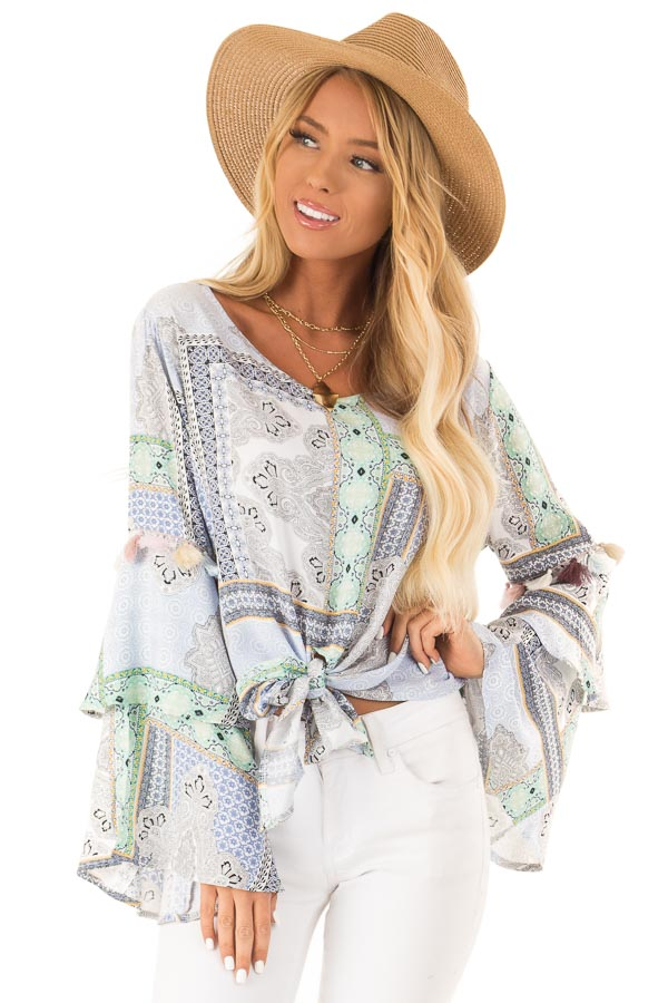 Baby Blue Paisley Patterned Top with Tassels and Front Tie front close up