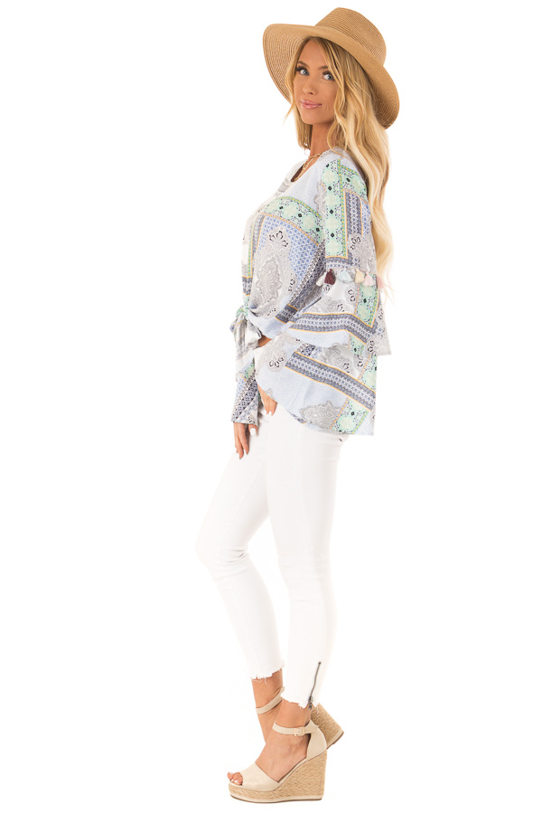 Baby Blue Paisley Patterned Top with Tassels and Front Tie side full body