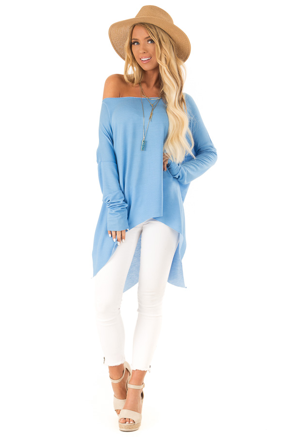 5c9c1c72366ca ... Sky Blue Off the Shoulder Oversized Long Sleeve Top front full body ...