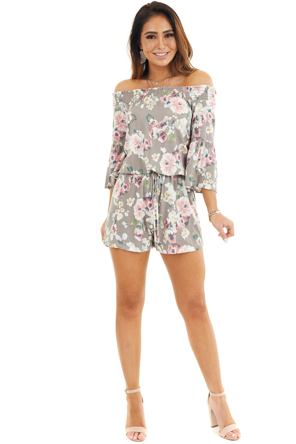 Mocha Floral Off Shoulder Romper with Front Tie front full body