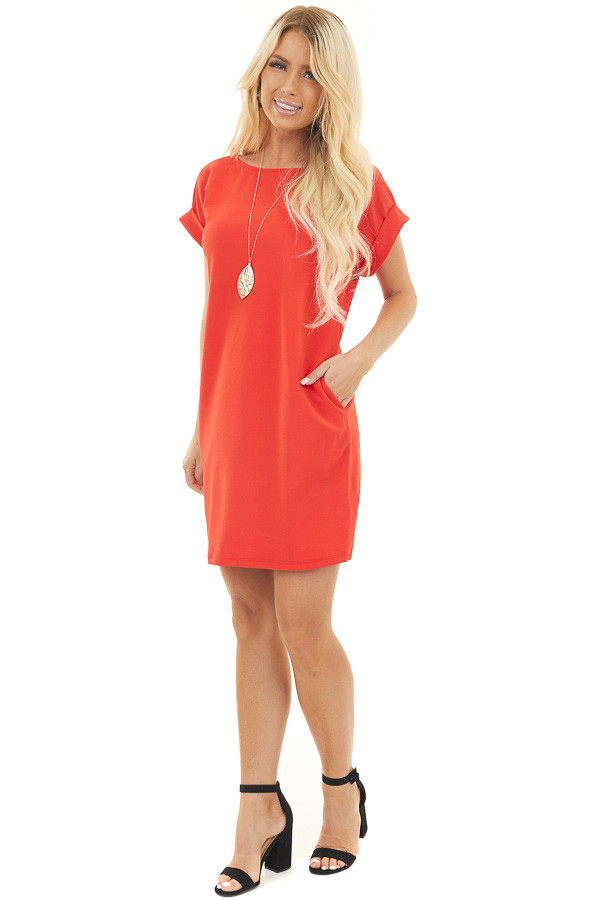 Ruby Red Shift Dress with Short Cuffed Sleeves and Pockets
