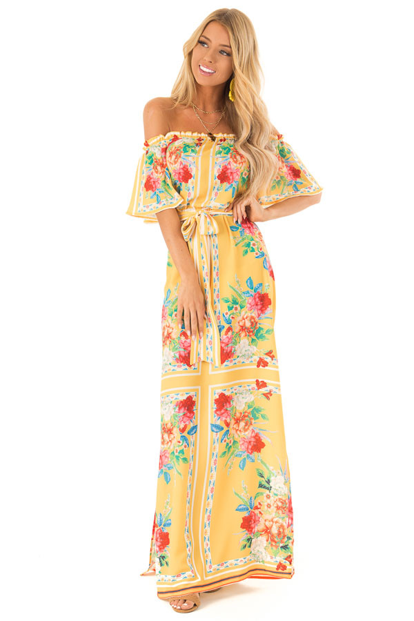 99c65f416b7 ... Pineapple Yellow Off the Shoulder Floral Print Maxi Dress front full  body ...