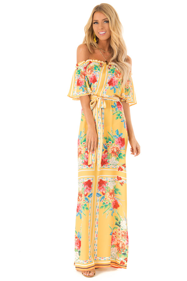 e453801064ed Pineapple Yellow Off the Shoulder Floral Print Maxi Dress front full body