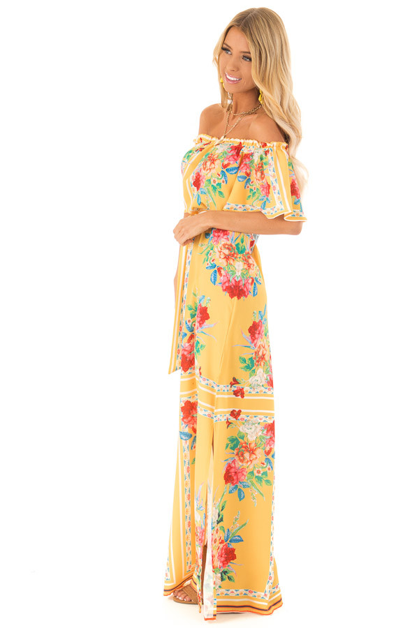 94b20d5a7 Pineapple Yellow Off the Shoulder Floral Print Maxi Dress side full body