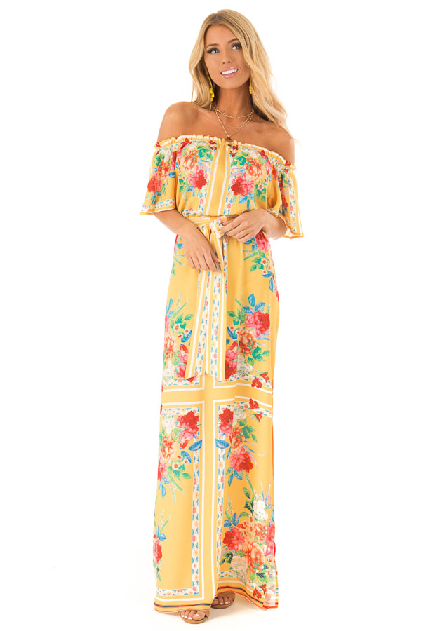 f4a329608 Pineapple Yellow Off the Shoulder Floral Print Maxi Dress front full body