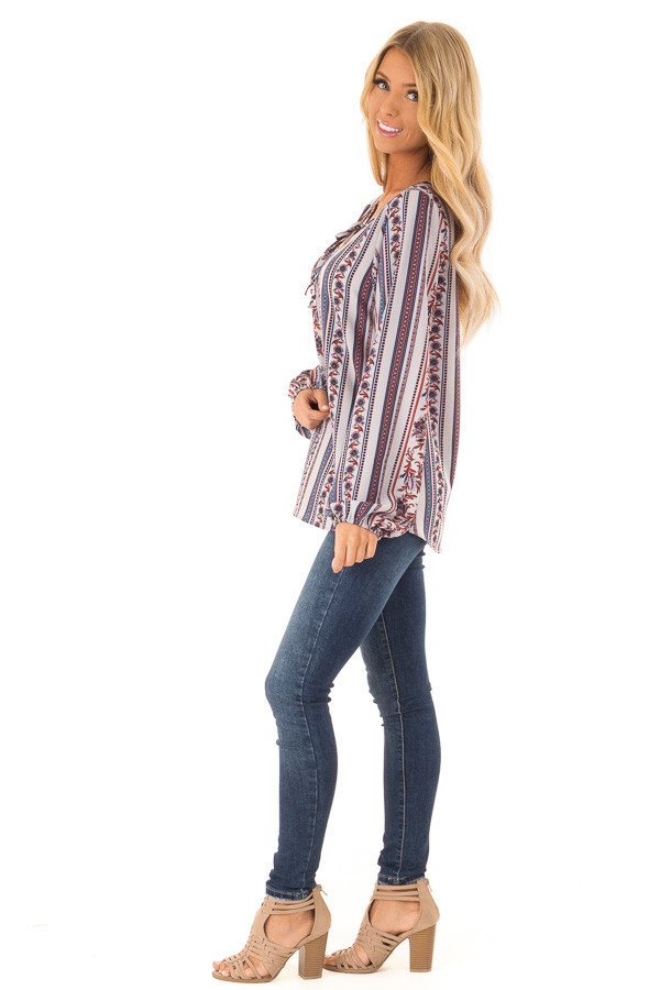 Cornflower Blue Multi Print Long Sleeve Top with Tie side full body