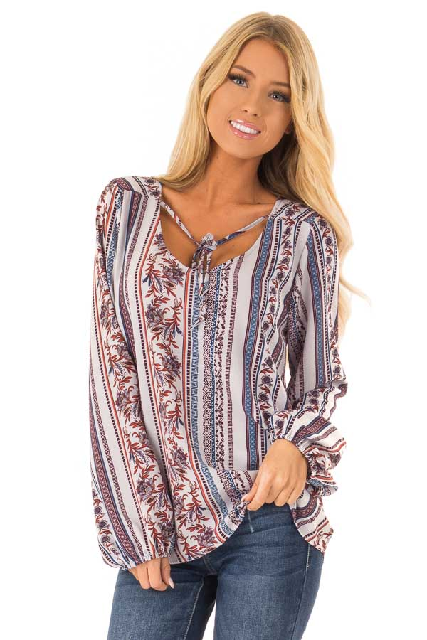 Cornflower Blue Multi Print Long Sleeve Top with Tie front close up