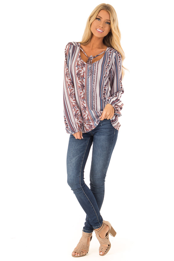 Cornflower Blue Multi Print Long Sleeve Top with Tie front full body